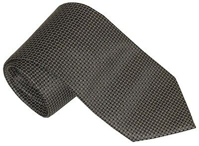 $275 New Brioni Silver Brown & Taupe Neat Circle & Square Pattern 100% Silk Tie