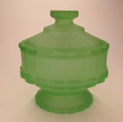 Frosted Green English Depression Glass Davidson 5340 Trinket Pot