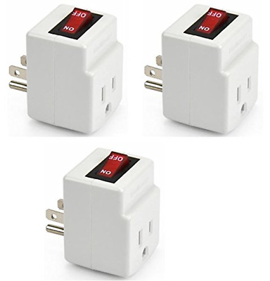 BindMaster 3 Prong Grounded Single Port Power Adapter for Outlet On/Off Switch 3