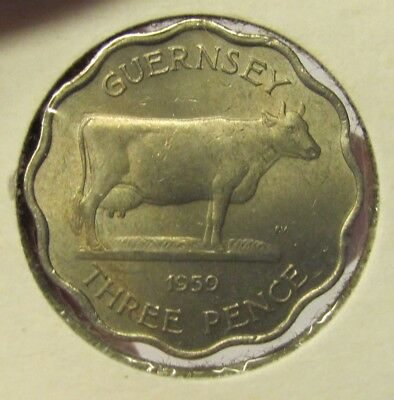 GUERNSEY  1959 3 Pence coin - Guernsey cow - very nice UNCIRCULATED