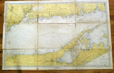 Two Vintage 1968 Nautical Charts Eastern and Western Long Island Sound New York.