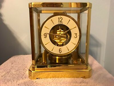 Vintage 1960's Gold Tone LeCoultre & Cie Atmos Round Mantle Clock 528-6 Swiss 9""