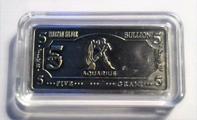 "5 Gram ""AQUARIUS""  Zodiac, Star sign 5 Gram Tibetan Silver ingot in Capsule"