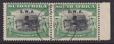 SOUTH WEST AFRICA : 1927 SWA on 5/- Wagon perf 14 X 13½ pair VARIETY no stop
