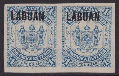 "LABUAN : 1896 ""LABUAN"" Arms $1 IMPERF pair DOUBLE PRINTED"