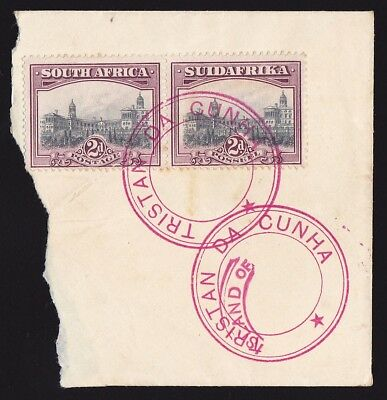 TRISTAN DA CUNHA 1927 type IV cachet tying South Africa 2d cat £5500+ on cover!