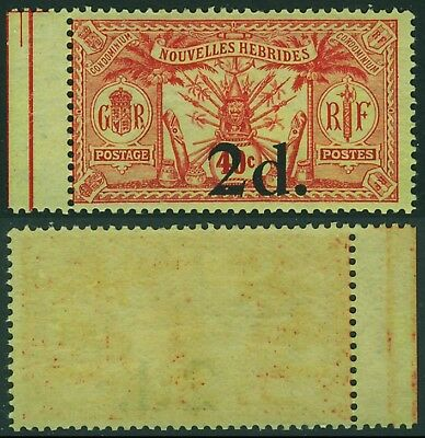 New Hebrides : 1920-21 Weapons & Idols 2d/40c  wmk RF  MNH **.  Yv 69 cat €675
