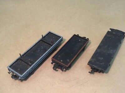 3 flat bed wagons (2 Hornby Dublo, 1 Bachman) plus 2 Hornby Wooden Containers
