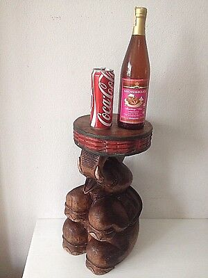Large Vintage wood carved elephant stool STAND design