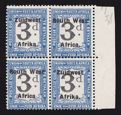 SOUTH WEST AFRICA 1923 Setting VI Postage Due 3d block VARIETY NO STOP