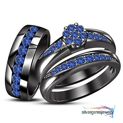 Sapphire Trio Set His Hers Matching Engagement Ring Wedding Band 10K Black Gold
