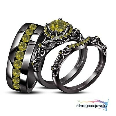 His Her 925 Silver Wedding Band Engagement Ring Black Gold Trio Set With Peridot