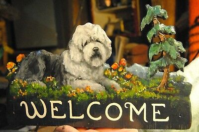 Original Painting~Old English Sheepdog~Dog~Hand Made~Whimsical~WELCOME~SIGN~art