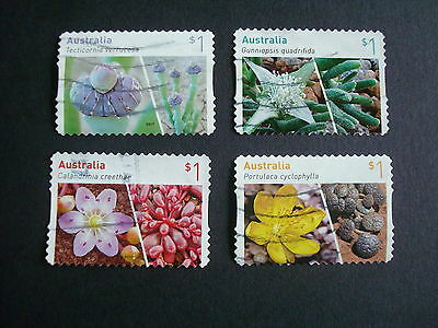 2017 - Australian Succulents - Set of 4 x $1 P&S stamps - Used