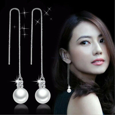 Chic Gift 925 Sterling Silver Pearl Ear Wire Threader Drop Dangle Chain Earrings