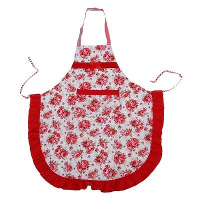 Women Apron with Ruffle Pocket Floral Roses for Cooking Kitchen M1N4