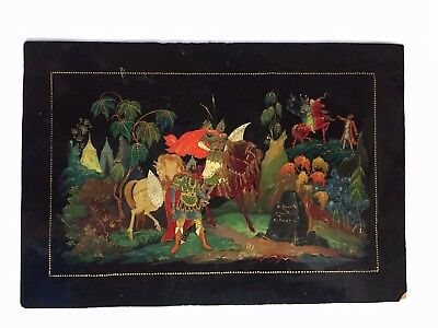 Hand painted USSR PALEKH lacquer STUDENT WORK 1950's russian art Bogatyrs