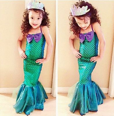 Kids Ariel Little Mermaid Set Girl Princess Long Dress Cosplay Costume Swimsuit