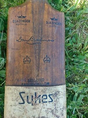 vintage 1930s Don Bradman cricket bat Sykes original pig skin
