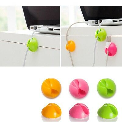 10pcs Cable Drop Clip Tidy Organizer Wire Lead USB Charger Table Cord Holder