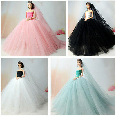 Handmade Dress Wedding Party Mini Fashion Clothes For Barbie Doll