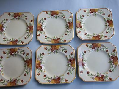 Royal Doulton Sandwich Plates Set of 6 x Floral Pattern MARIGOLD.  C.1930