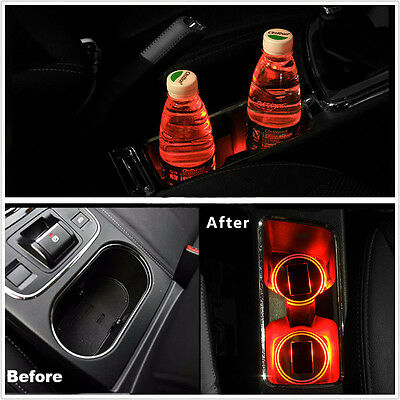 2PCS Red Solar Cup Holder Bottom Pad LED Light Trim Atmosphere Lamp For ALL Cars