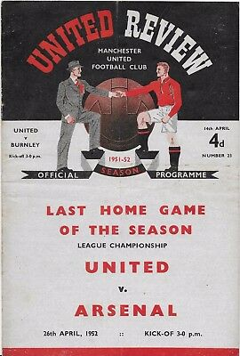 Manchester  United V Burnley -1951/52   14-4-1952