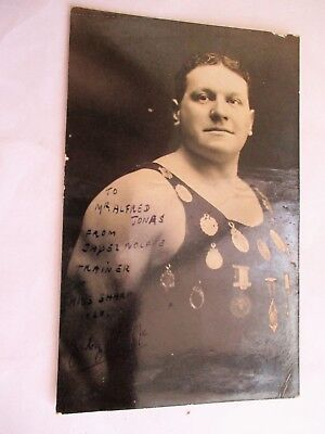 Jabez Wolffe - Old Hilda Sharp Trainer Channel Swimmer Interest signed Postcard