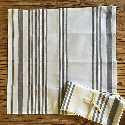 White and grey stripe organic 100% cotton napkins x 4