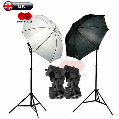 Photo Studio Flash Speedlite Umbrella Lighting Light Stand + 2 Mount Bracket Kit