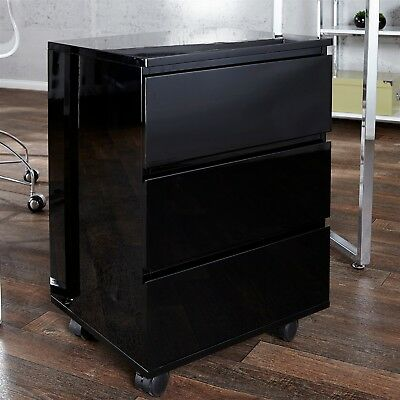 "MOBILE FILING DRAWER CABINET ""MOVE"" for office highgloss black"