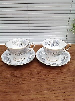 Royal Albert Silver Maple Cups & Saucers