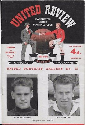 Manchester  United V Burnley 1955/56   4-2-1956