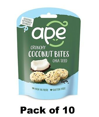 Ape Snacks Crunchy Coconut Bites with Chia Seeds 30g (Pack of 10) - Gluten Free