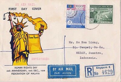 MALAYA PRIVATE REG  COVER SINGAPORE to MEDAN 10 Dec 1958 HUMAN RIGHTS FD issue