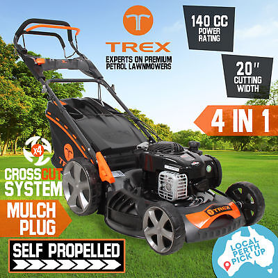 "NEW TREX Lawn Mower Briggs & Stratton Powered Self Propelled 140cc 20"" Lawnmower"
