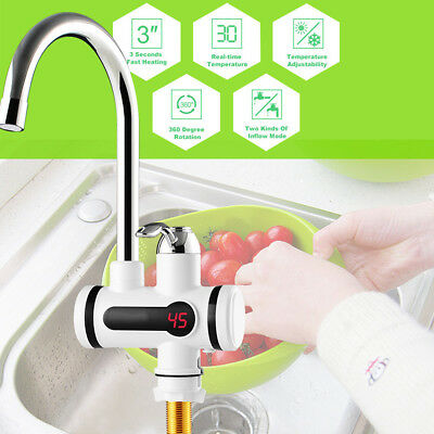 Tankless Instant Electric Hot Water Heater Faucet Bathroom Kitchen Heating Tap