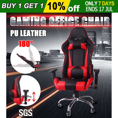 Executive Gaming Racing Office Chair Computer High Back PU Leather Recline Seat