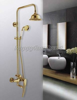 Polished Gold Color Brass Bathroom Rain Shower Faucet Set Tub Mixer tap ygf046