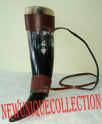 New Horn Viking drinking  with leather holder pagan mead beer wine stein mug
