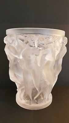"""Large Lalique """"Bacchantes"""" vase with original sticker in perfect condition."""