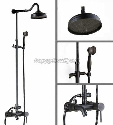 Black Oil Rubbed Bronze Bathroom Rain Shower Faucet Set Tub Mixer Tap yrs601