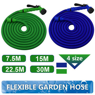 25 50 75 100Ft Durable Expandable Flexible Garden Hose Water Pipe 7in1 Spray Gun