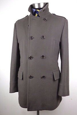 Mens Taupe Wool Double Breasted Military Style Over Coat Slim 44R
