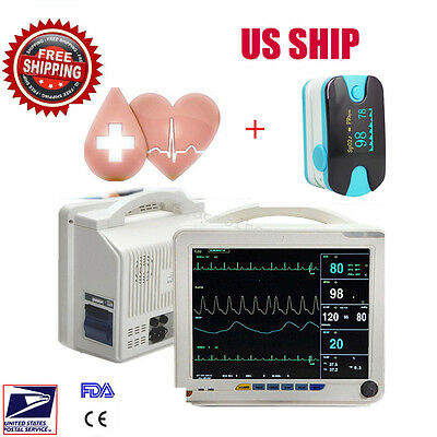 "12"" Patient Monitor NIBP SPO2 ECG TEMP RESP PR Vital Sign Monitor +Oixmeter US"