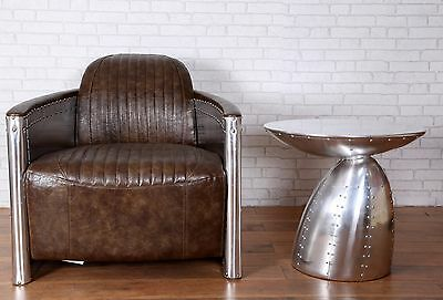 1 Seater Sofa Aviation Industrial Retro Vintage  Brown Bicast Leather