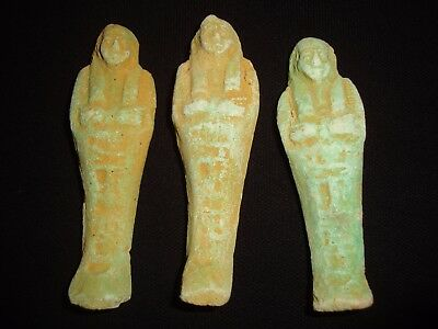 Lot Of 3 RARE ANCIENT EGYPTIAN ANTIQUES PRETTY USHABTI Shabti 300-350 BC
