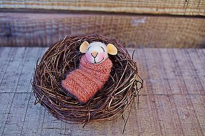 Needle Felted Doll Little Sleeping Mouse Nest Baby Mouse Art Doll Miniature Doll