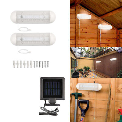 2x Rechargeable 10W LED Solar Power Lamp Garden Shed Garage Light with Switch